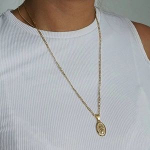 Virgin Mary Necklace, Gold Filled